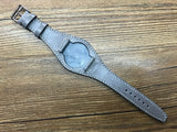 20mm Leather Watch Strap, Leather Bund Straps, Leather Watch Band for Rolex, Tudor Watches (Vintage Grey) - eternitizzz-straps-and-accessories