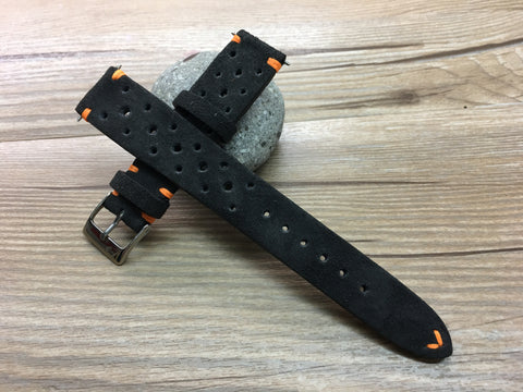 Racing Watch Straps 20mm, Rally Watch straps 19mm, Suede Leather watch band, Black Suede Leather watch Straps, 18mm watch band, FREE SHIPPING