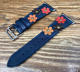 Apple Watch Series 5, Apple Watch Band, Single Tour Rallye, Blue Encre, Apple Watch 40mm, Apple Watch Band, Leather Watch Band, Apple Watch Strap - eternitizzz-straps-and-accessories