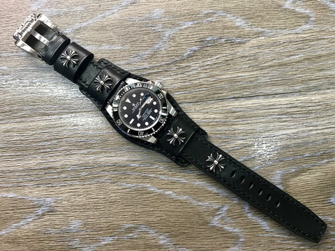 Leather Watch Strap, Watch Strap 20mm, Chrome Hearts, Leather bund strap, Black watch band, 19mm watch band, 18mm Watch Strap
