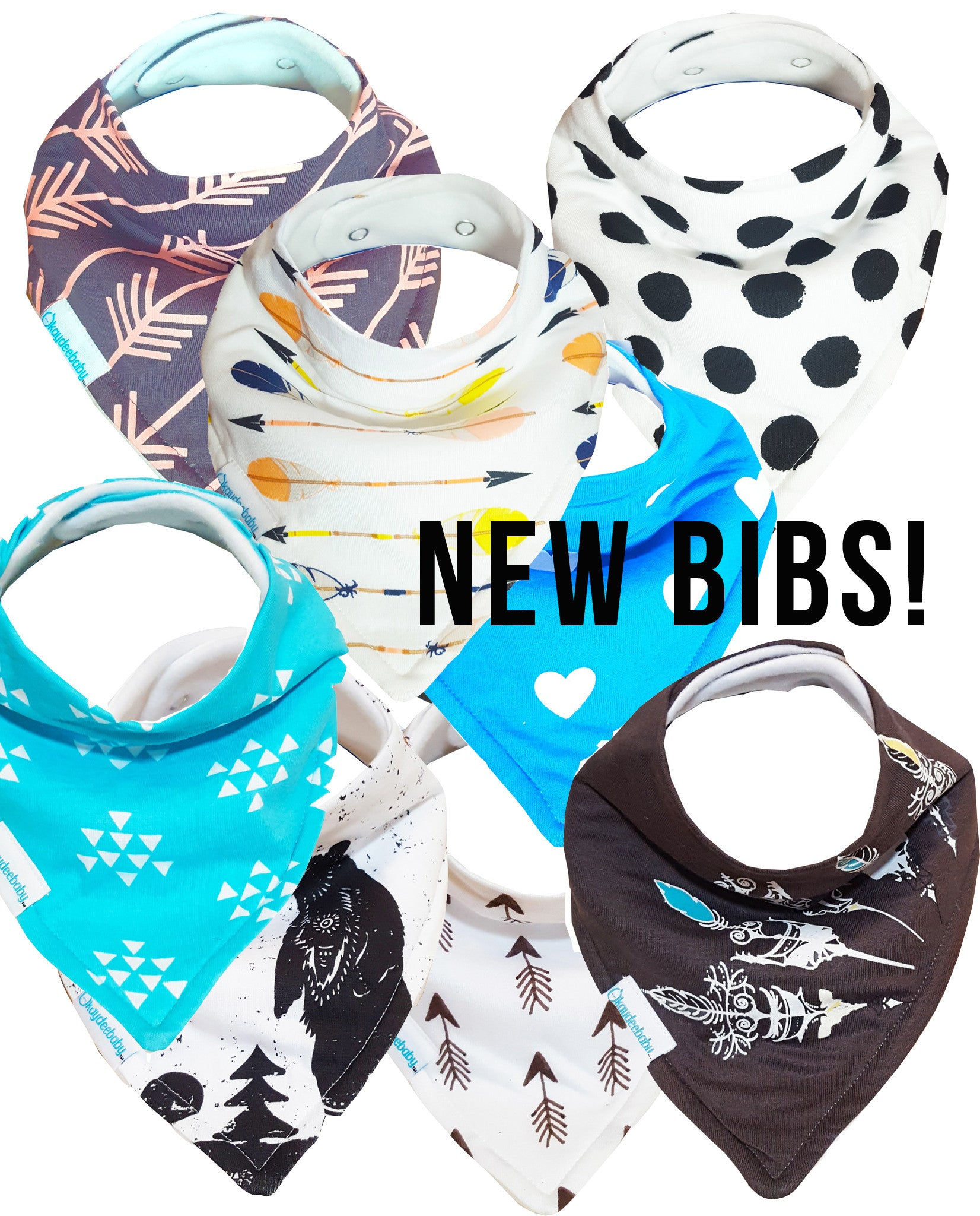 New Bandana Bib Sets: Vibes + Cupid
