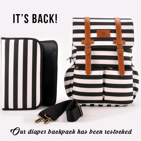 Our striped diaper backpack: restocked + on sale