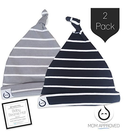 Kaydee Baby Organic Knot Beanie Hats - Set of 2 (Stripes) 7ff98f1fbac