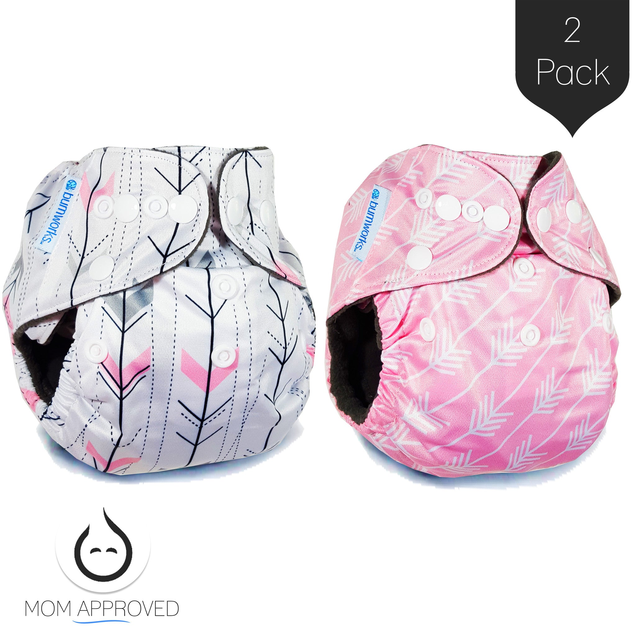 Bumworks Double Gusset Charcoal Bamboo Pocket Cloth Diapers With