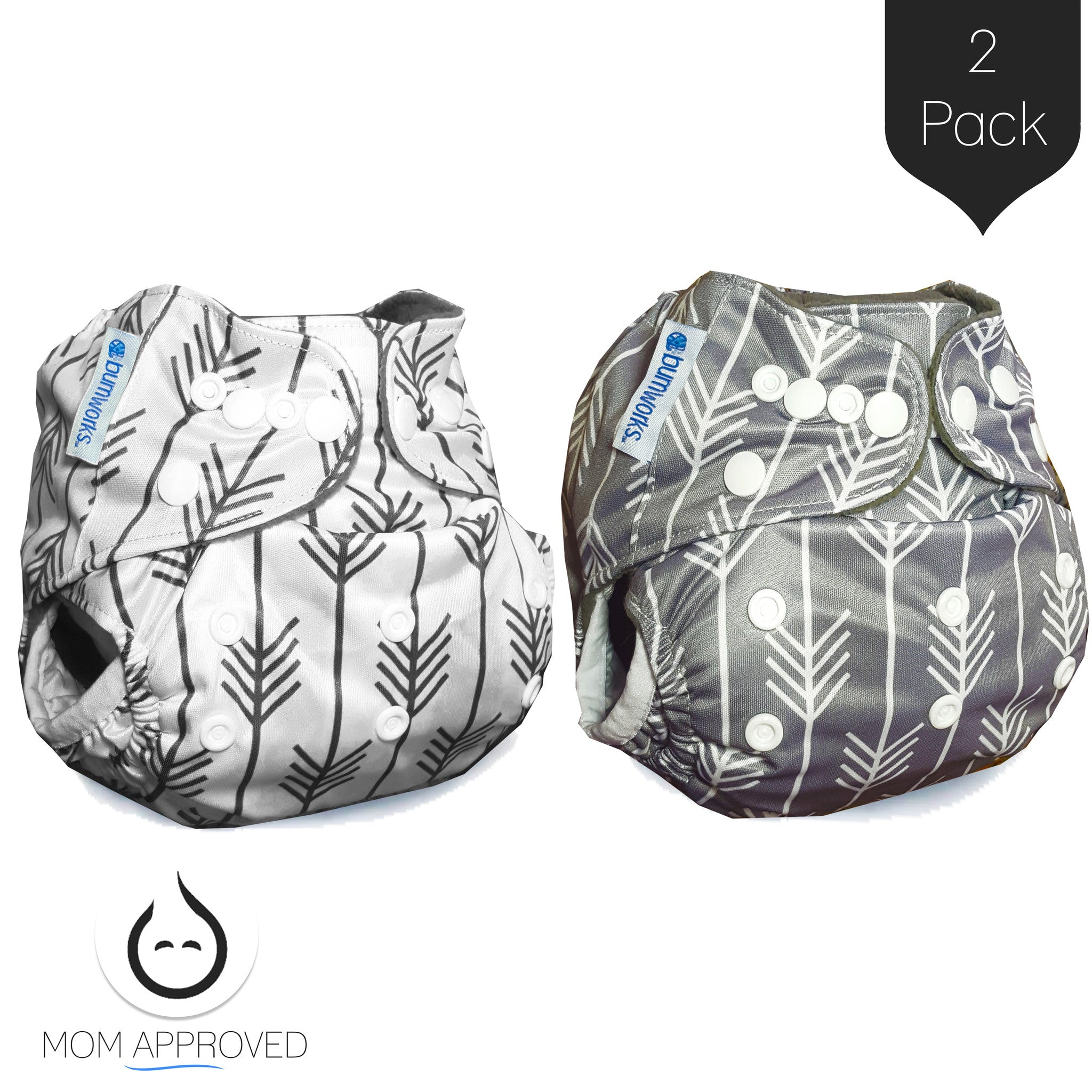 Bumworks Charcoal Double Gusset Bamboo Pocket Cloth Diapers With