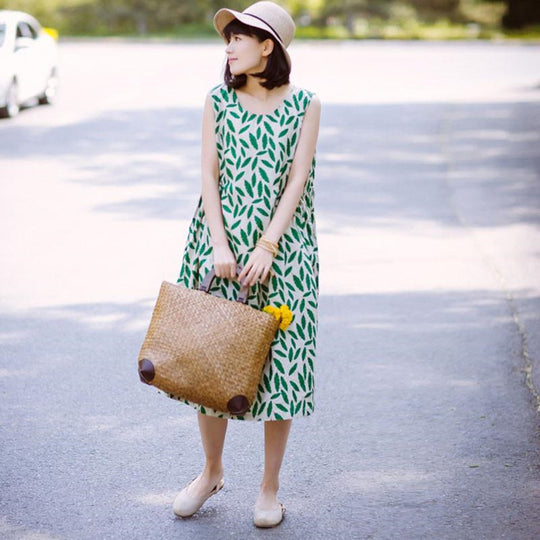 Women Printing Loose Casual Linen Summer Sleeveless Green Dress