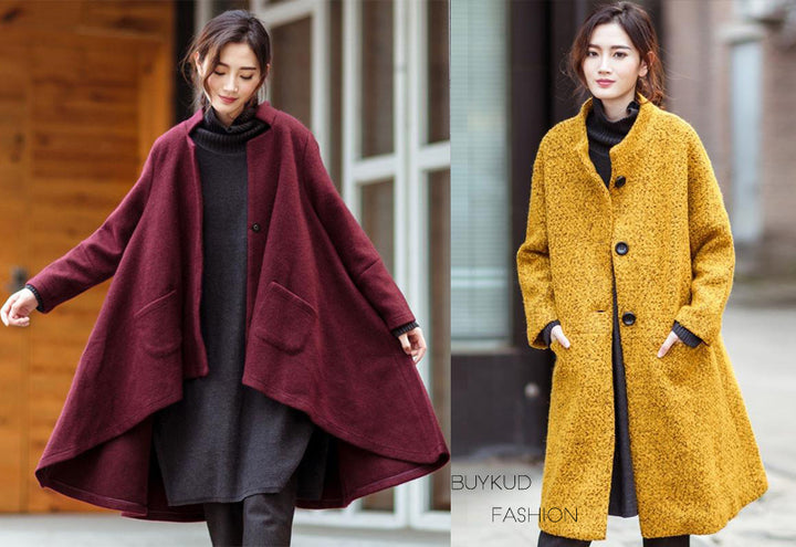 Wine Red Loose Wool Jacket Coat Yellow Loose Wool Coat