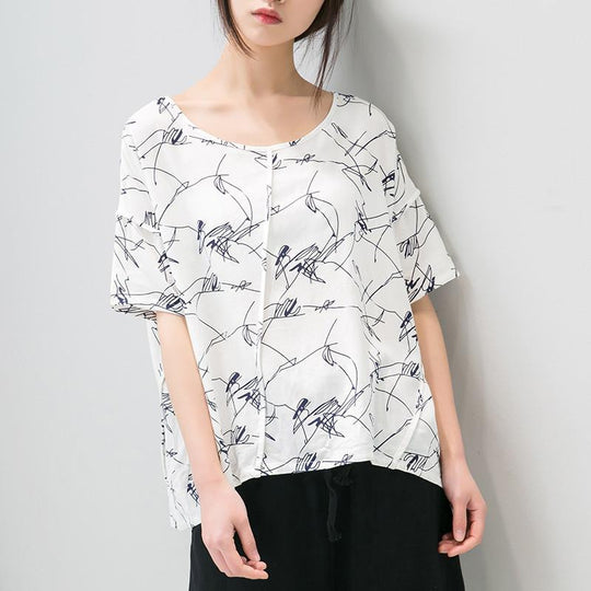 Cotton Linen Women Loose Casual White BLue Shirt