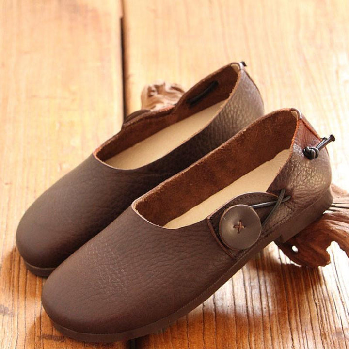 Literature Women Slip-on Leather Shoes Dark Coffee