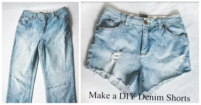 Old Material Transformation - Make a DIY Denim Shorts