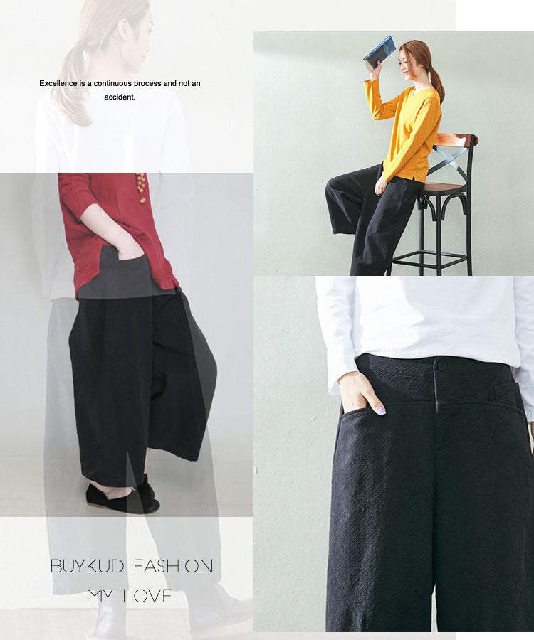 Keep Warm Winter Casual Linen Thickening Loose Black Pants