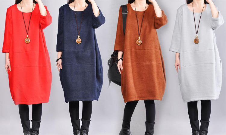 Autumn Winter Women Round Neck Three Quarter Sleeve Solid Wool Dress