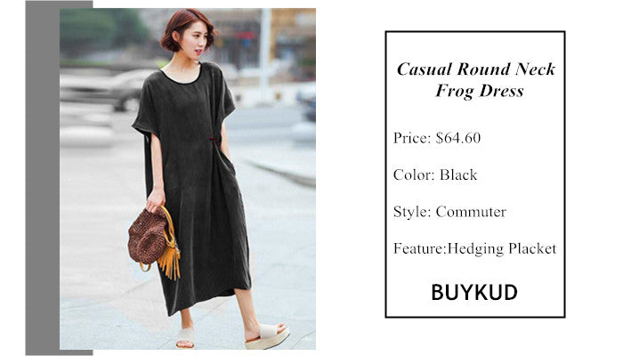 1 Casual Round Neck Frog Dress