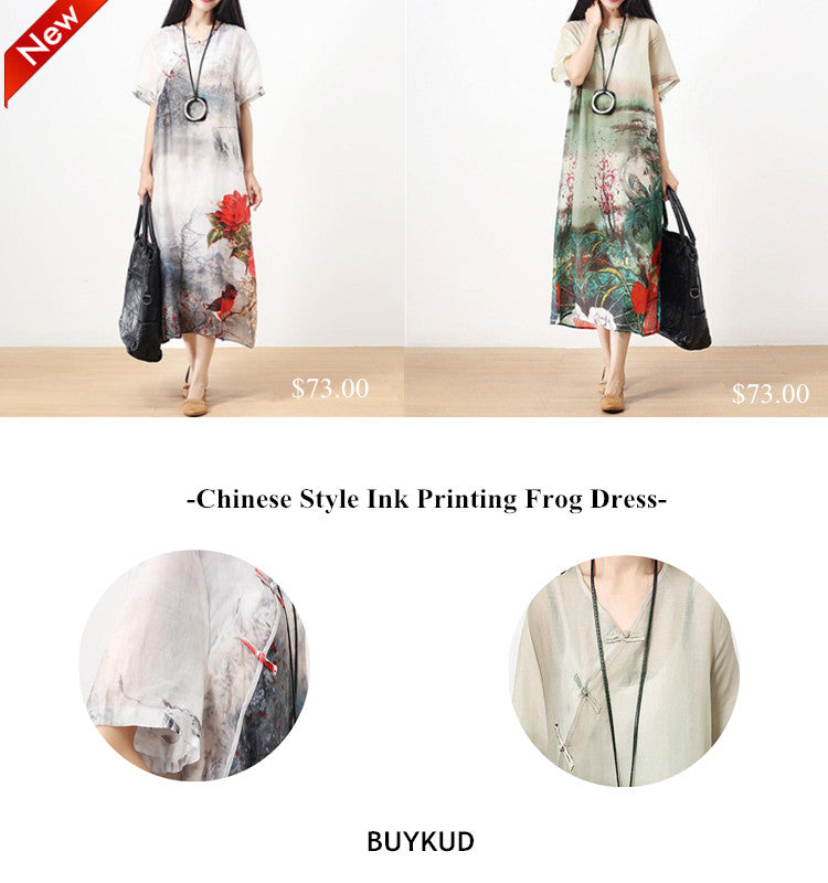 1 Chinese Style Ink Printing Frog Dress