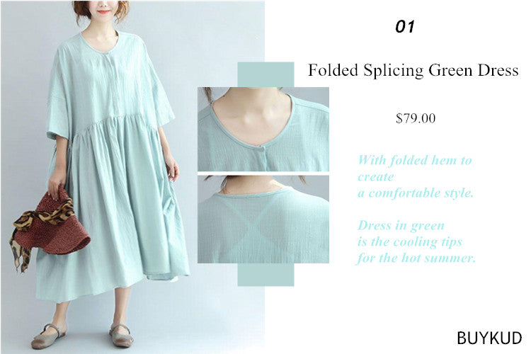 1 Folded Splicing Green Dress