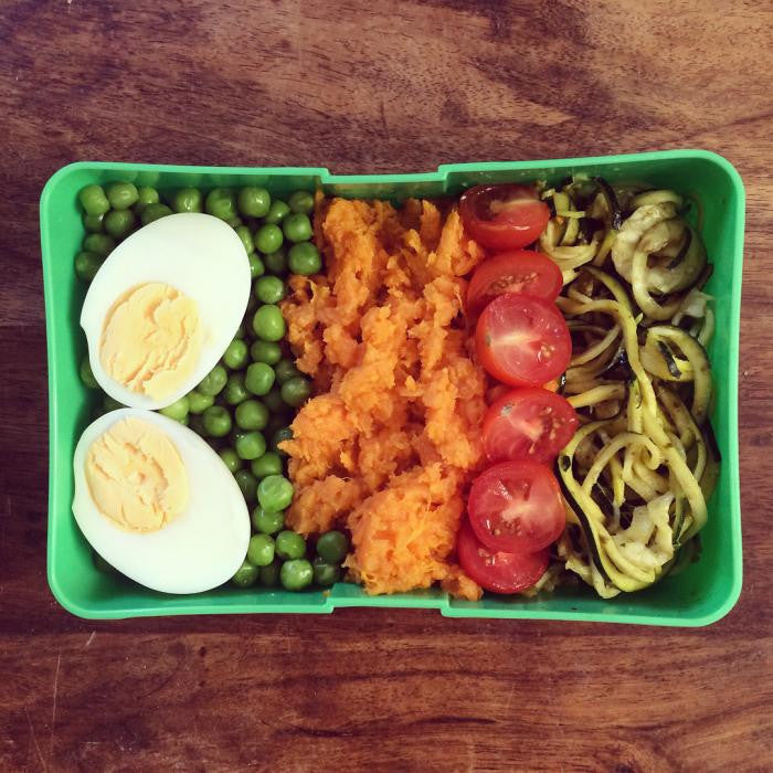 Sweet Potato + Egg + Green Soybean + Cherry Tomato + Zucchini Shreds