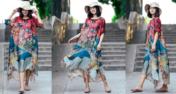 Summer Thin Printing Loose Casual Women Splitting Silk Blue Dress