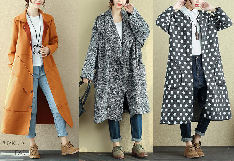 Coat, Overcoat, Long Sleeve, Casual loose