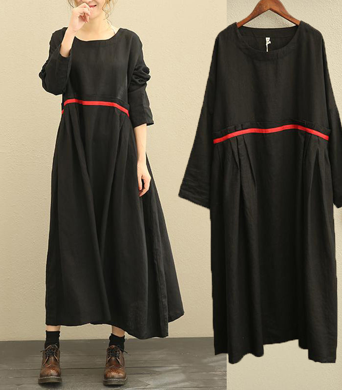 Cotton Linen Long Sleeve Black Dress