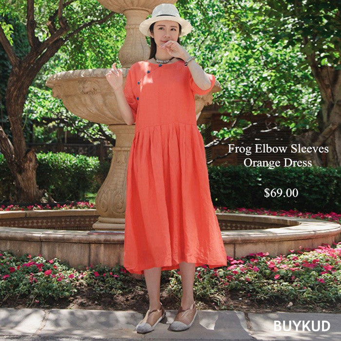 2 Linen Frog Elbow Sleeves Women Orange Dress