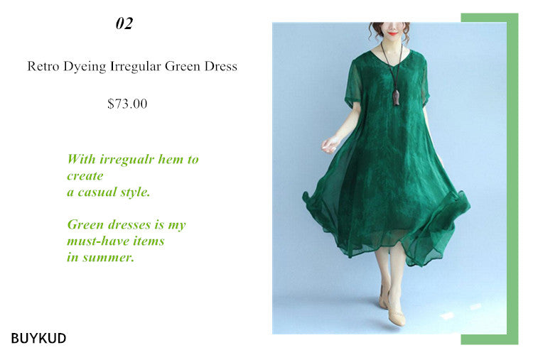 2 Retro Dyeing Irregular Green Dress