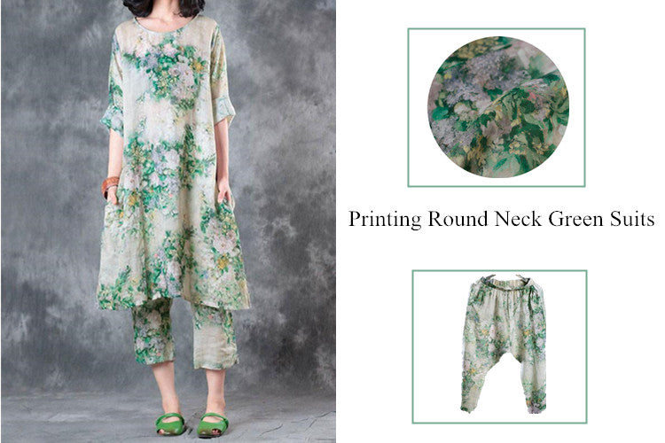 2 Summer Women Printing Round Neck Green Suits(Dress+Pants)
