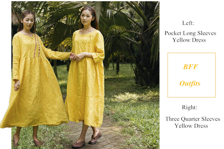2 Three Quarter or Long Sleeves Yellow Dress