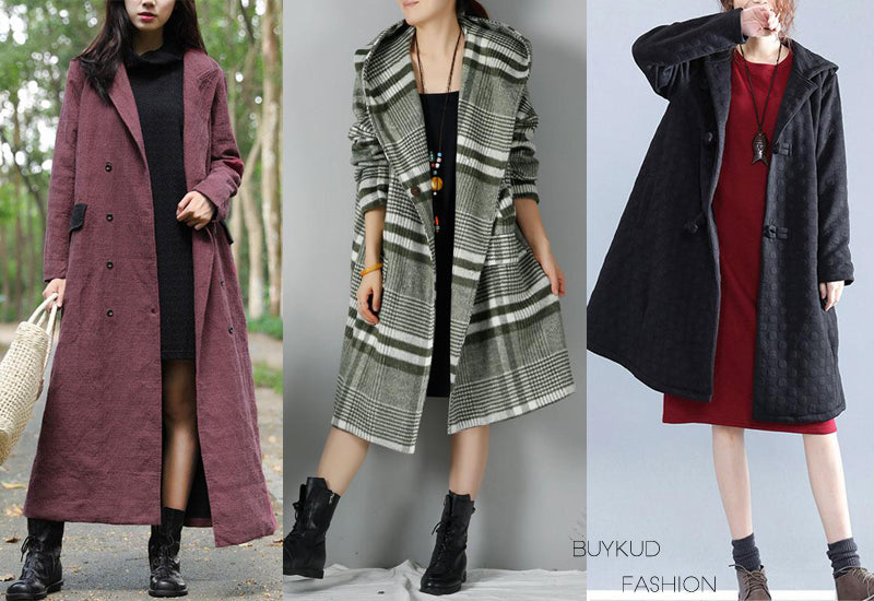 dress, black coat, long coat, winter coat, lattice coat