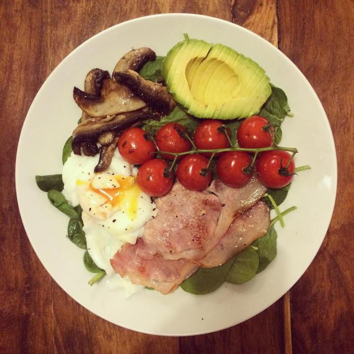 Avocado + Bacon + Cherry Tomato + Poached Egg + Mushroom