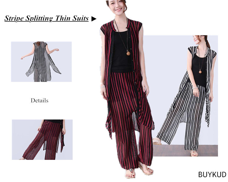 3 Loose Stripe Women Splitting Summer Thin Suits(Pants+Shirt)