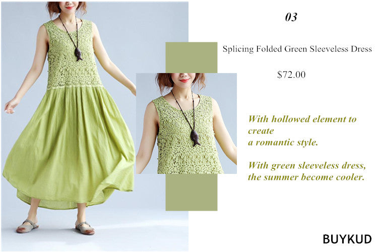 3 Splicing Folded Green Sleeveless Dress