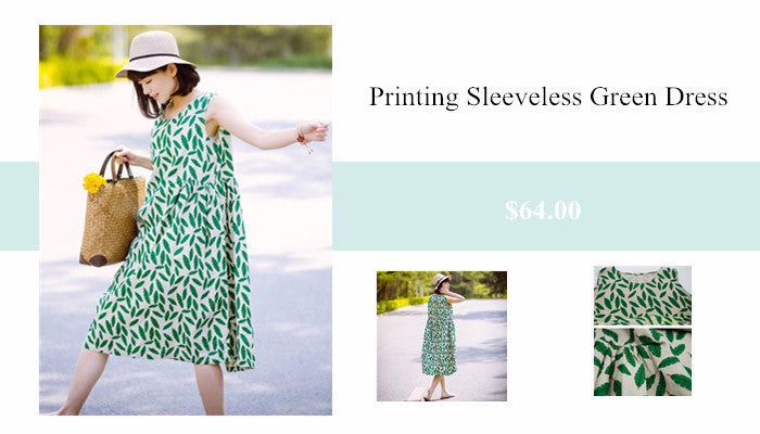 3 Women Printing Loose Casual Linen Summer Sleeveless Green Dress