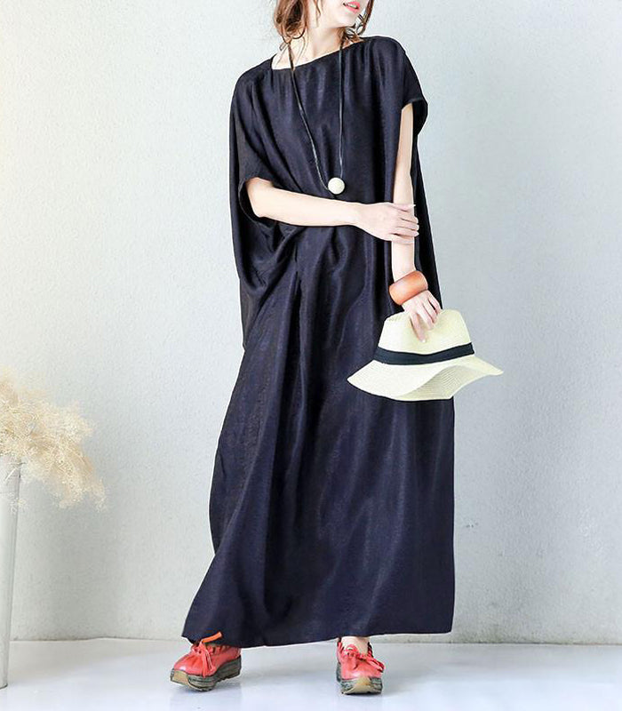 Irregular Solid Shoulder Sleeves Women Blue Dress