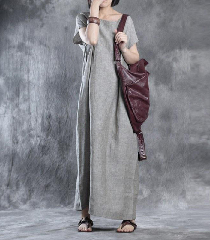 Women summer solid color loose linen dress