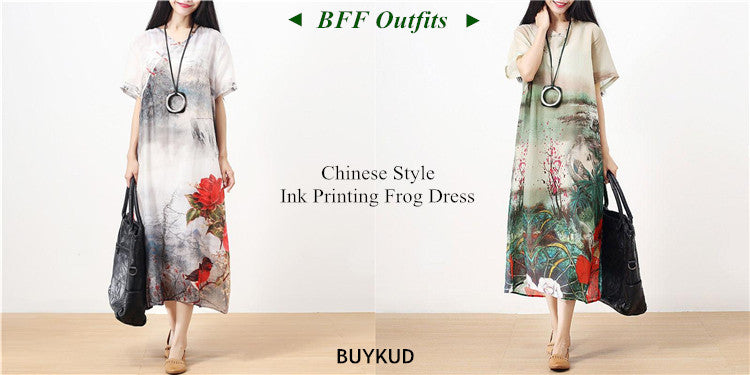 4 Chinese Style Ink Printing Frog Dress