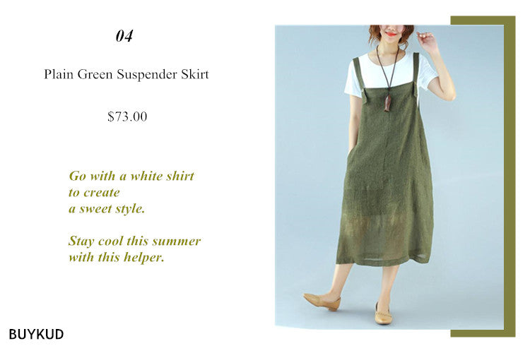4 Plain Green Suspender Skirt