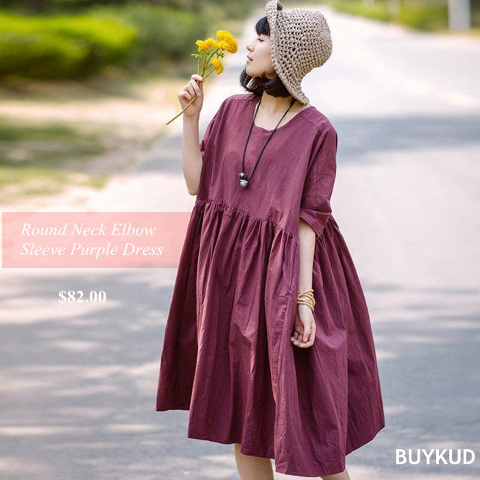 4 Summer Women Casual Round Neck Loose Elbow Sleeve Purple Dress