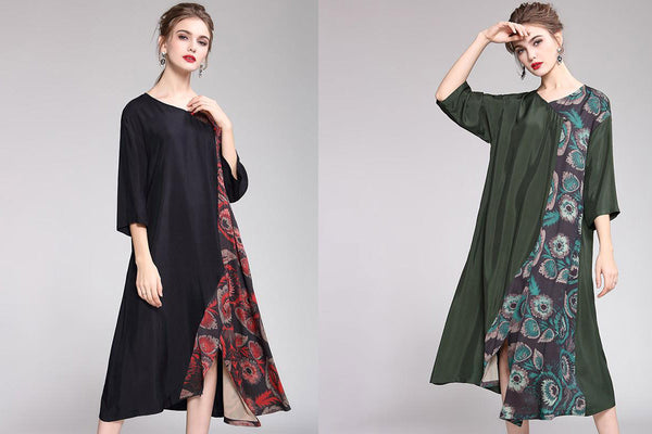 Stylish Asymmetric Print Three Quarter Sleeve Dress