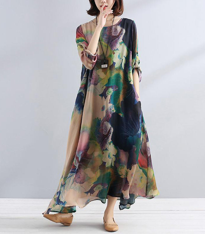 Charming Women Casual Loose Retro Floral Silk Dress