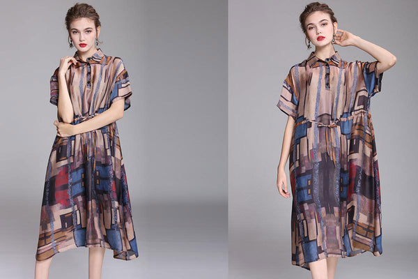 Summer Square Collar Retro Print Dress