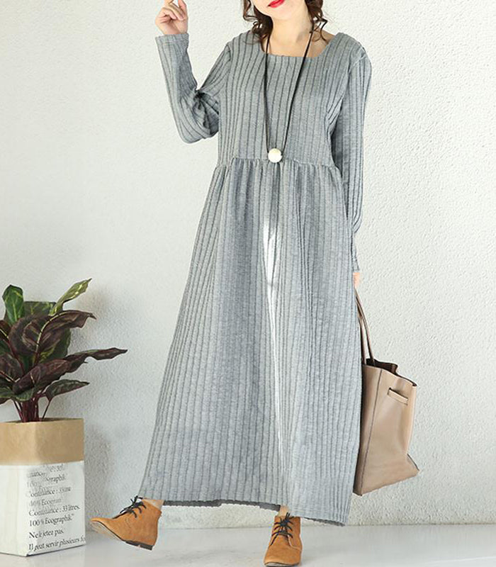 Winter Loose Vertical Stripes High Waist Light Grey Dress
