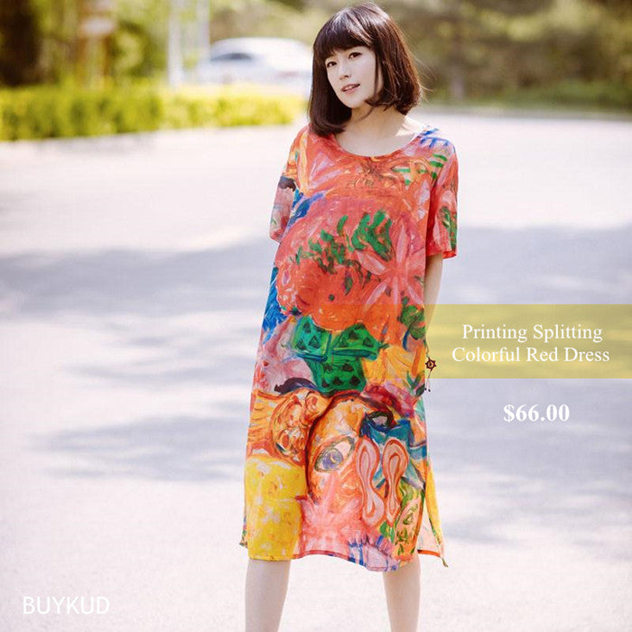 6 Printing Loose Splitting Women Casual Linen Colorful Red Dress