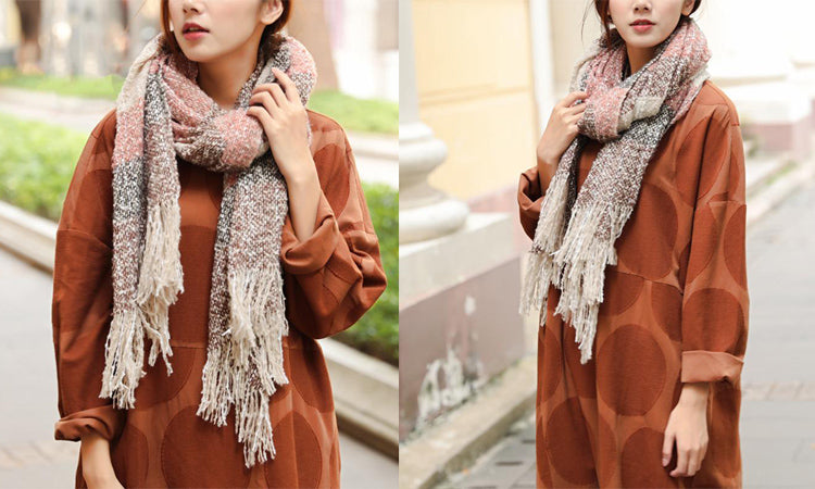 Fashionable Women Tassel Mixed Color Warm Wool Retangle Scarf