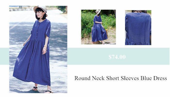 7 Loose Round Neck Linen Short Sleeves Women Blue Dress