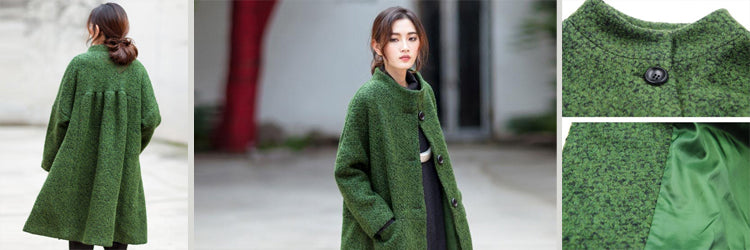 women casual loose woolen coat green
