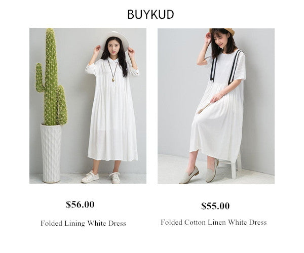 Buykud Summer White Dress-Long