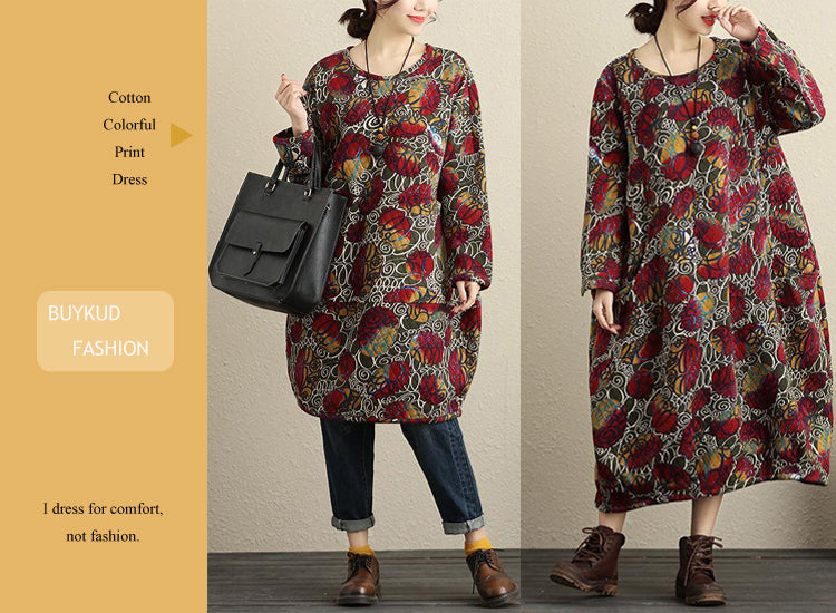 Casual Cotton Colorful Print Dress