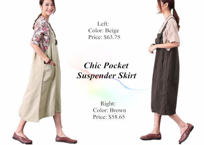 Chic Pocket Suspender Skirt