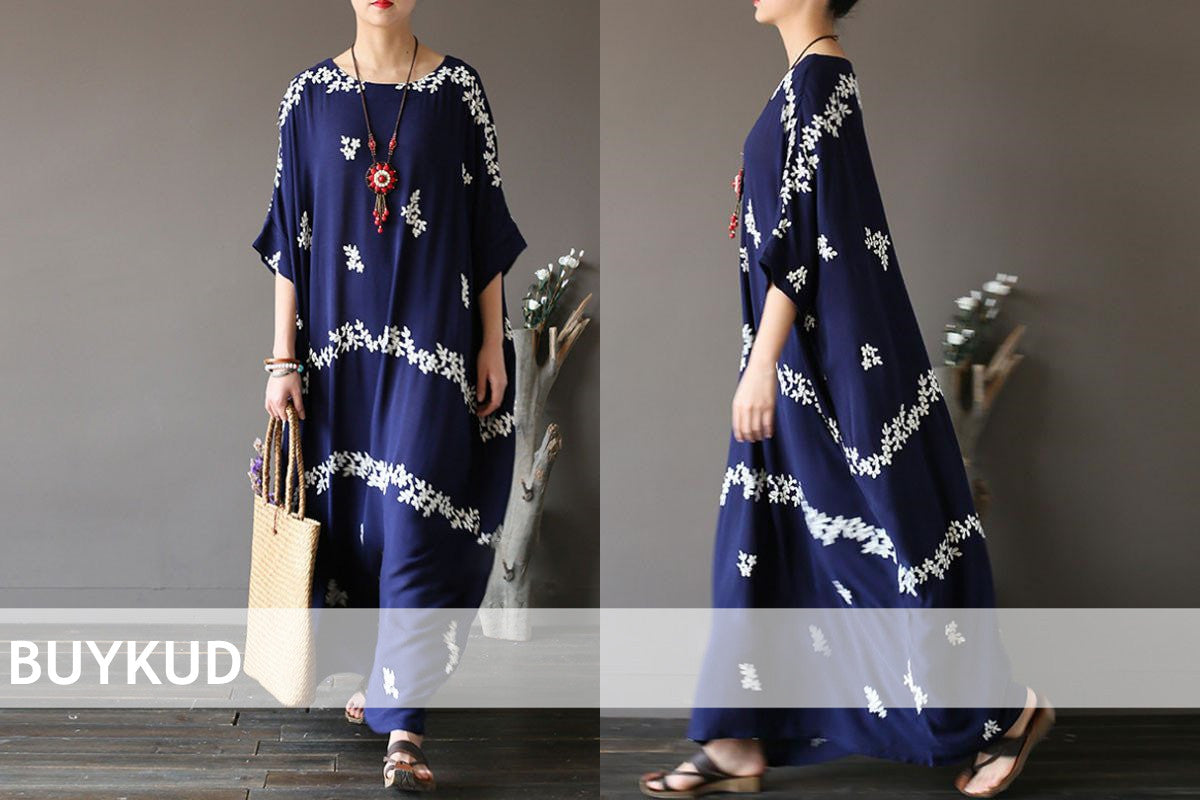 Embroidered Floral Loose Women Retro Cotton Blue Dress