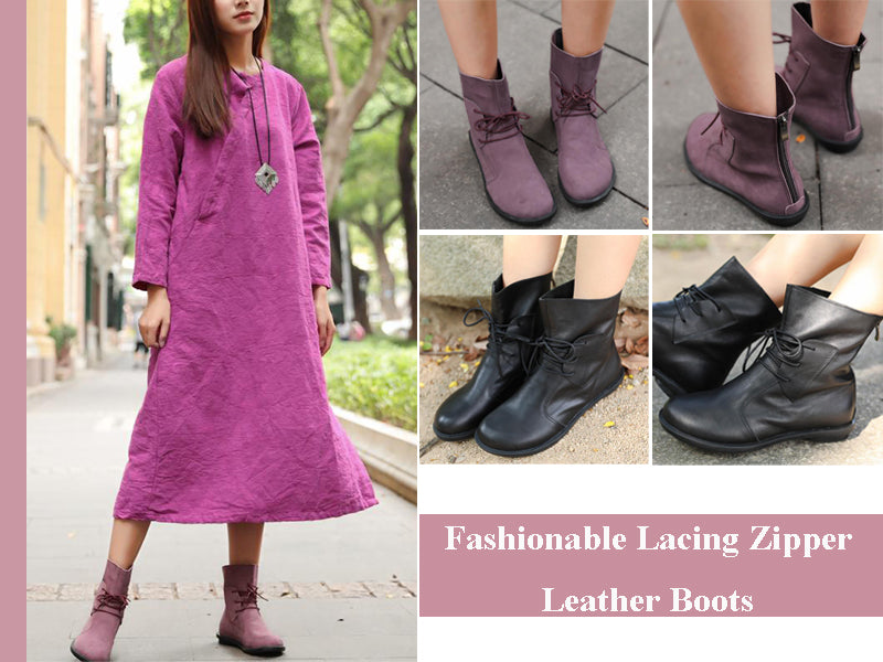 Fashionable Lacing Zipper Leather Boots Shoes For Women